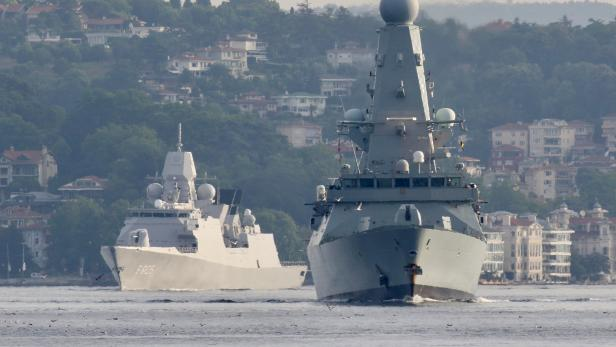 British Royal Navy destroyer HMS Defender sails in Istanbul's Bosphorus