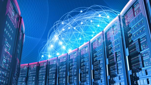 Futuristic data center with servers, blue network of global connections