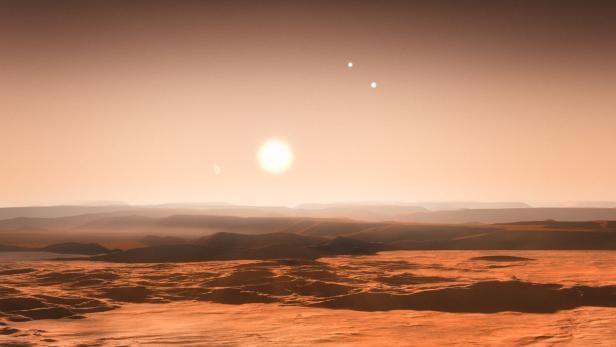 Künstlerische Darstellung einer Planetenoberfläche mit drei Sternen am Himmel