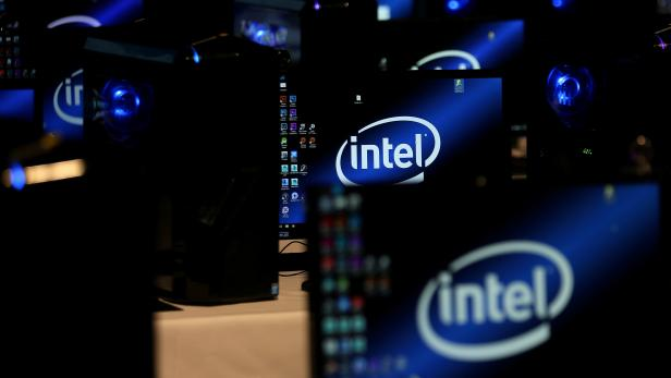FILE PHOTO: The Intel logo is displayed on computer screens