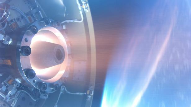 Darstellung eines Rotating Detonation Engine auf einer Rakete über der Erde