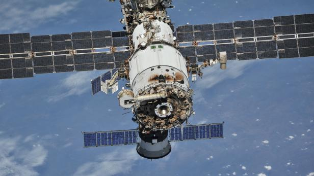 FILE PHOTO: ISS photographed by Expedition 56 crew members from a Soyuz spacecraft after undocking