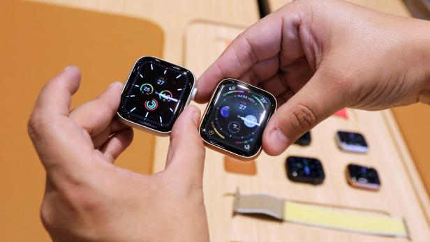 FILE PHOTO: A man shows the new model of Apple Watch during the opening of Mexico's first flagship Apple store at Antara shopping mall in Mexico City