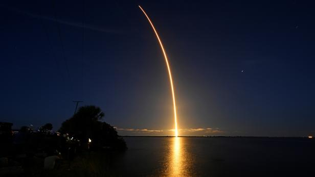The Inspiration 4 civilian crew aboard a SpaceX Falcon 9 rocket launches from Kennedy Space Center