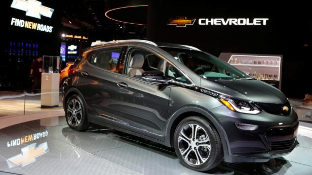 FILE PHOTO: A 2018 Chevrolet Bolt EV is displayed during  the North American International Auto Show in Detroit