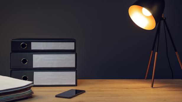 Office desk with lamp