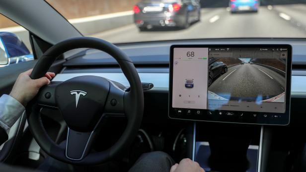 FILE PHOTO: The interior of a Tesla Model 3 electric vehicle is shown in Moscow