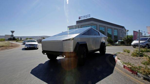 Tesla Cybertruck replica is seen on the street in Mostar