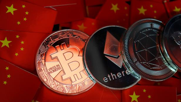 Picture illustration of China's flags and cryptocurrencies