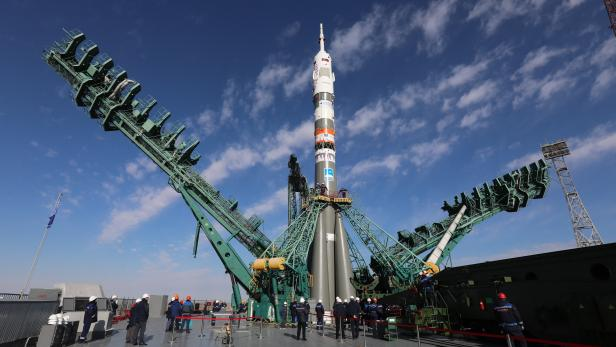 Soyuz-2.1a booster rocket with Soyuz MS-19 spacecraft rolled out ahead of launch
