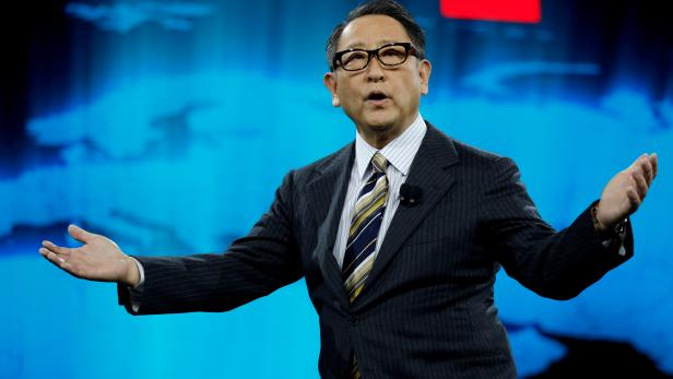 FILE PHOTO: Akio Toyoda, president of Toyota Motor Corporation, speaks at a news conference, where he announced Toyota's plans to build a prototype city of the future on a 175-acre site at the base of Mt. Fuji in Japan, during the 2020 CES in Las Vegas