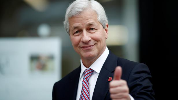 FILE PHOTO: Jamie Dimon, CEO of JPMorgan Chase, leaves after the launching of the Advancing Cities Challenge, in Pantin