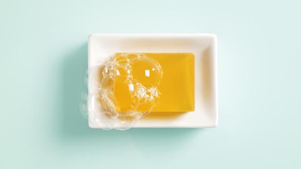 Orange soap in a dish