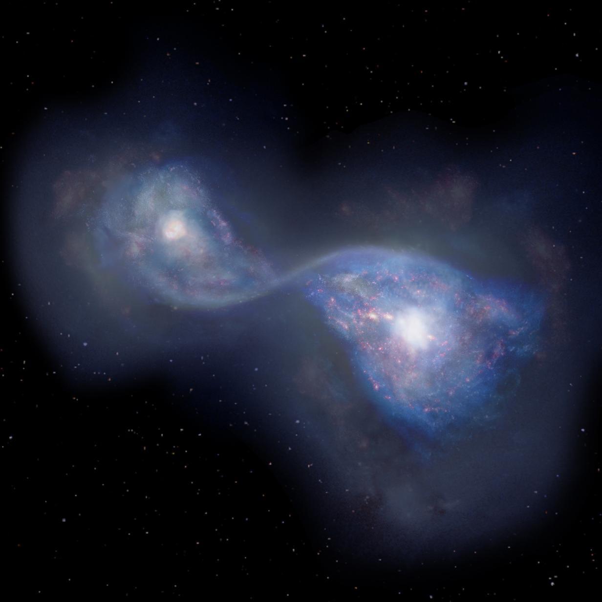 Astronomen beobachten zwei Galaxien beim Verschmelzen