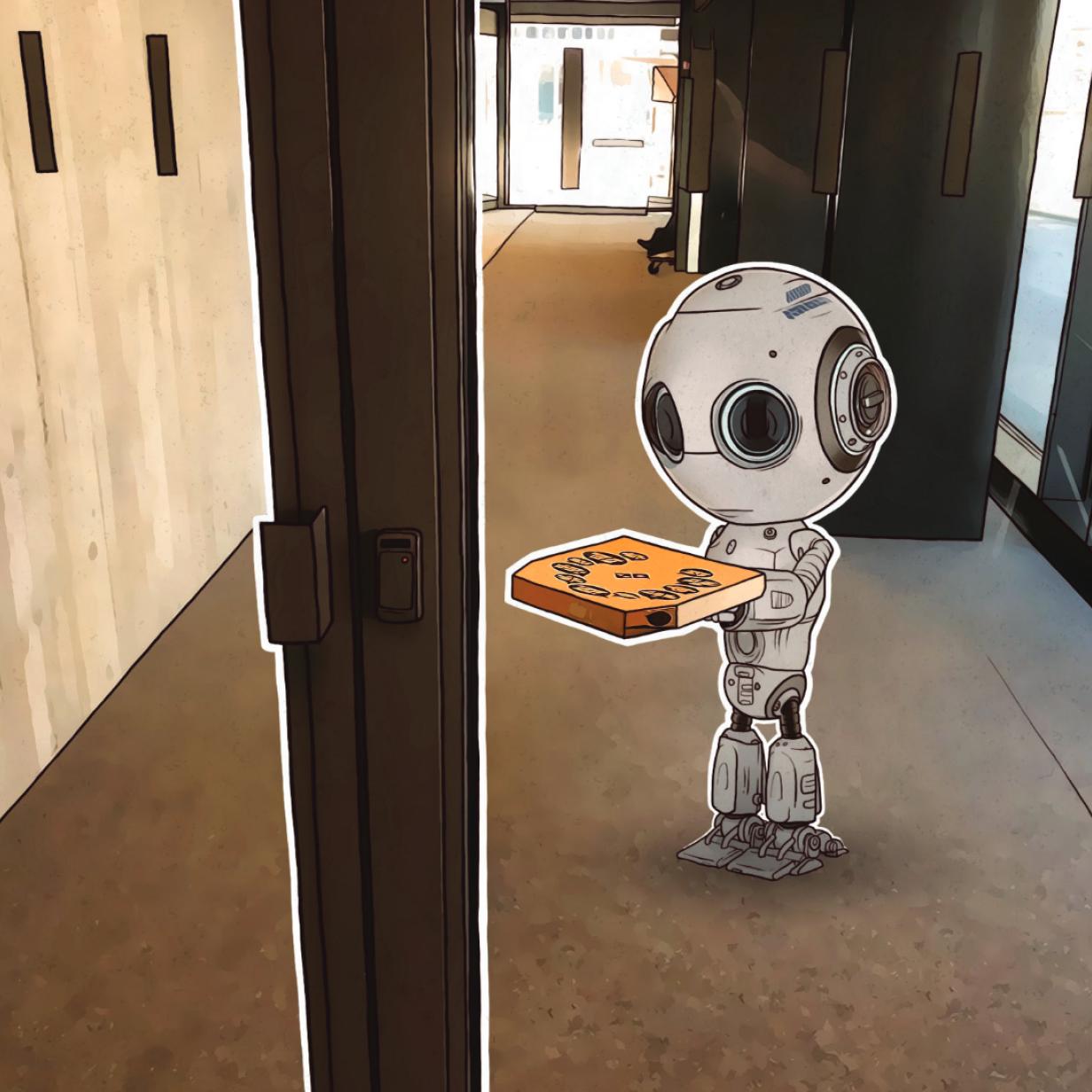 Roboter schummelt sich mit Pizza in Sicherheitstrakt