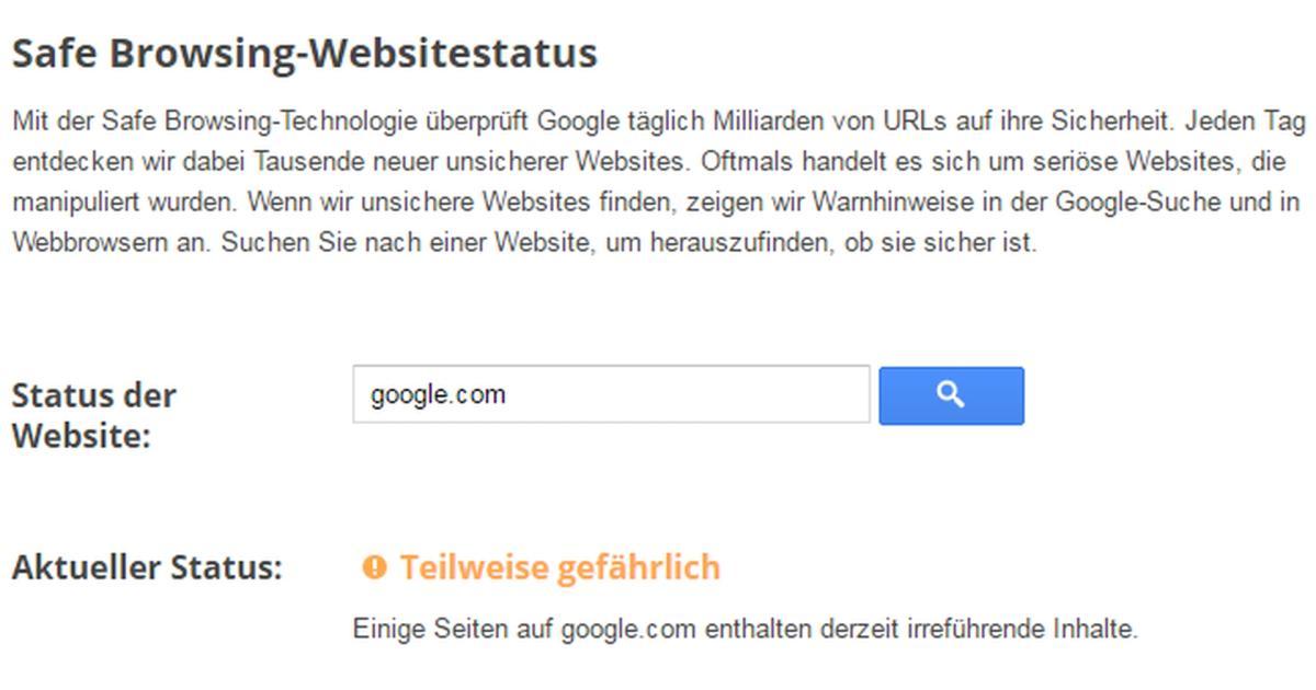 Google erkennt Google.com als unsichere Webseite