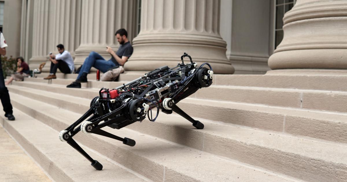 Blinder Roboter kann Stiegen steigen und auf Tische springen