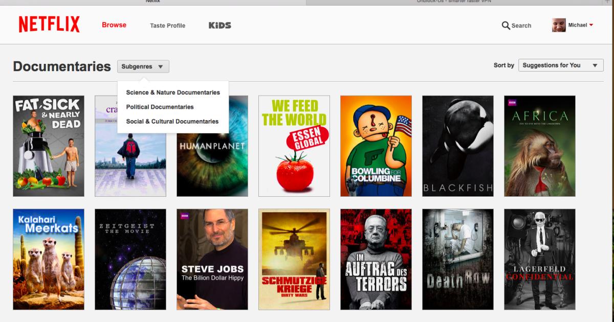 Netflix Kategorien